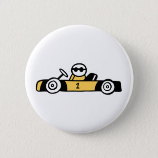 Racing car illustration printed on t-shirts pinback button