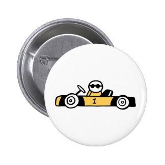 Racing car illustration printed on t-shirts pinback button