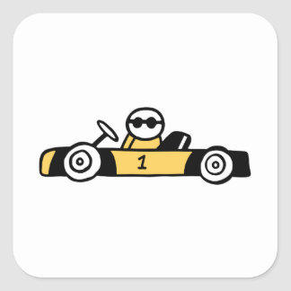 Racing car illustration printed on t-shirts square sticker