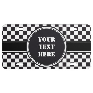 Racing Car Pattern + your backgr. color & text License Plate
