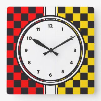 Racing Car Pattern + your background color Square Wall Clock