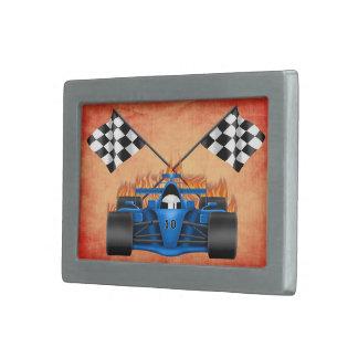 Racing Car Rectangle Belt Buckle