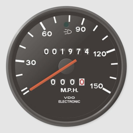 Racing car speedometer, inspired by air-cooled 911 classic round sticker