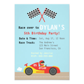Racing Car Theme, Birthday Party for the Boys 4.5x6.25 Paper Invitation Card