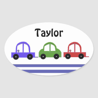Racing Cars and Stripes Oval Sticker