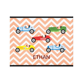 Racing Cars Auto Colorful Assorted on Chevron Canvas Print