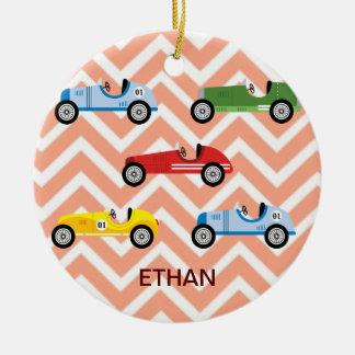 Racing Cars Auto Colorful Assorted on Chevron Ceramic Ornament