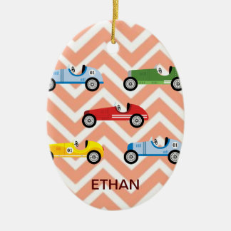 Racing Cars Auto Colorful Assorted on Chevron Ceramic Ornament