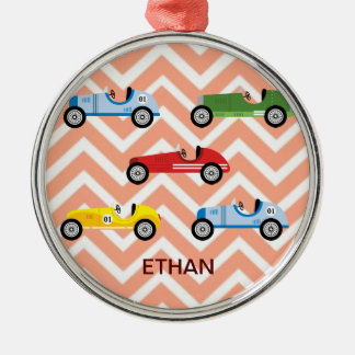 Racing Cars Auto Colorful Assorted on Chevron Metal Ornament