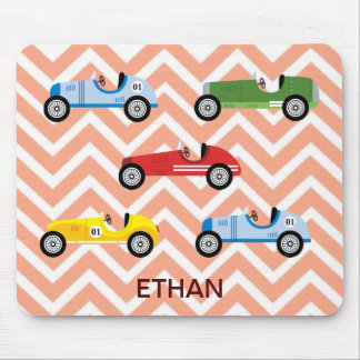 Racing Cars Auto Colorful Assorted on Chevron Mousepads