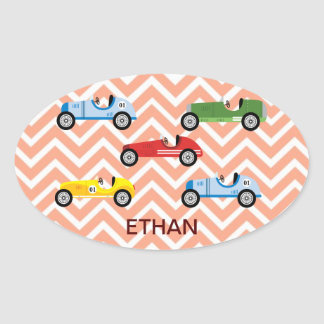 Racing Cars Auto Colorful Assorted on Chevron Oval Sticker