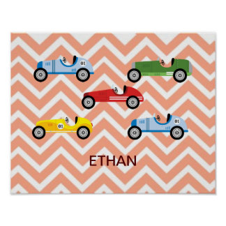 Racing Cars Auto Colorful Assorted on Chevron Poster