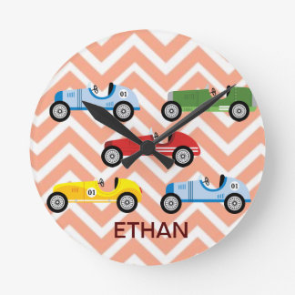 Racing Cars Auto Colorful Assorted on Chevron Round Clock