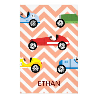 Racing Cars Auto Colorful Assorted on Chevron Stationery