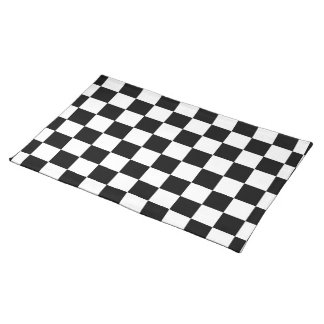 Racing Check Black White Checkered Cloth Placemat