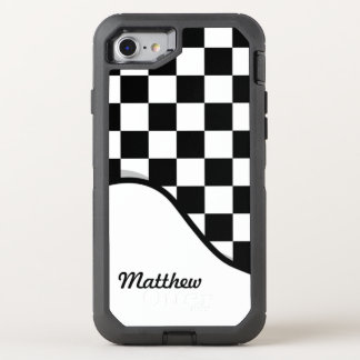 Racing Check Black White Checkered + Name OtterBox Defender iPhone 7 Case