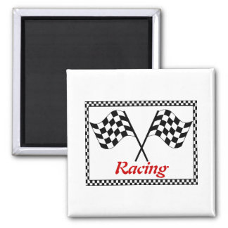 Racing Checkerboard Flags 2 Inch Square Magnet