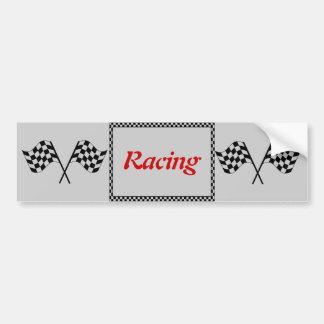 Racing Checkerboard Flags Bumper Sticker Car Bumper Sticker