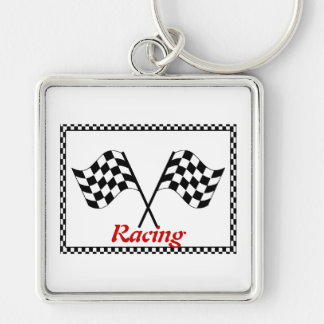 Racing Checkerboard Flags Silver-Colored Square Keychain