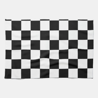Racing Checkered Flag Pattern Large Black Kitchen Towel