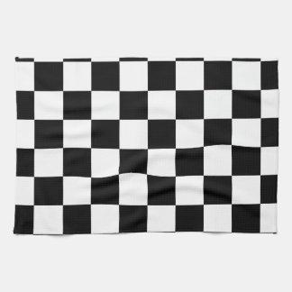 Racing Checkered Flag Pattern Large Black Towel