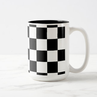 Racing Checkered Flag Pattern Large Black Two-Tone Coffee Mug