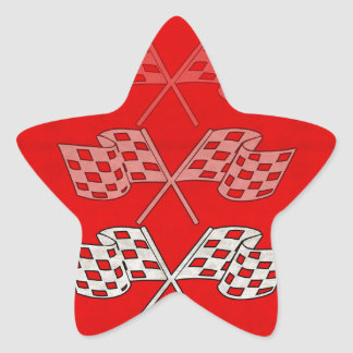 Racing Checkered Flag Star Sticker
