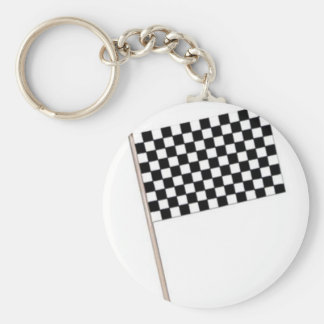 Racing Checkered Flags Basic Round Button Keychain