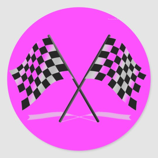 Racing Checkered Flags Classic Round Sticker