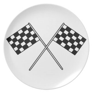 Racing Checkered Flags Dinner Plate  sc 1 th 225 & Black And White Checkered Racing Plates | Zazzle