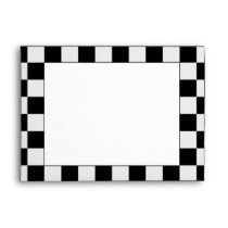 Racing Checkered Winners Flag Black and White Envelope