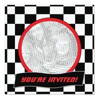 Racing Checkers Birthday Party Invitations