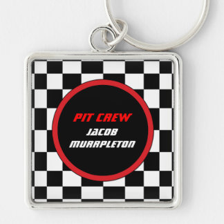 Racing Checkers Custom Keyring Silver-Colored Square Keychain