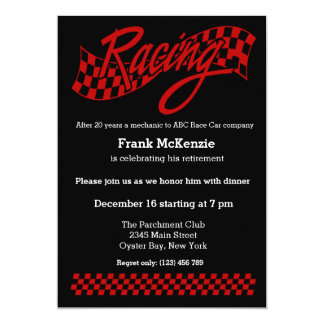 Racing, choose your background color 5x7 paper invitation card