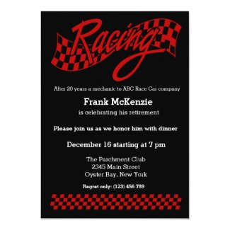 Racing, choose your background color invitation