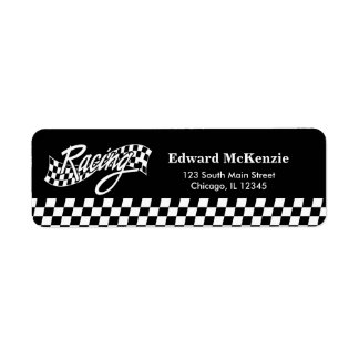 Racing, choose your background color return address label
