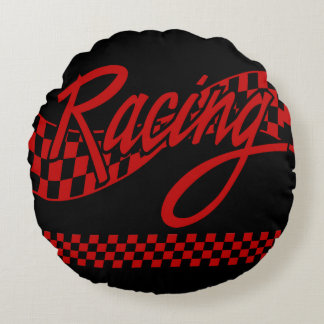 Racing, choose your background color round pillow