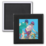 Racing Couple 2 Inch Square Magnet