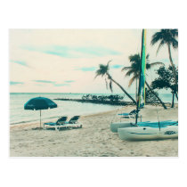 Racing Dinghy and Sun Chairs at Smathers Beach Postcard