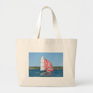 Racing Dinghy At Fornells Large Tote Bag