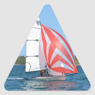 Racing Dinghy At Fornells Triangle Stickers