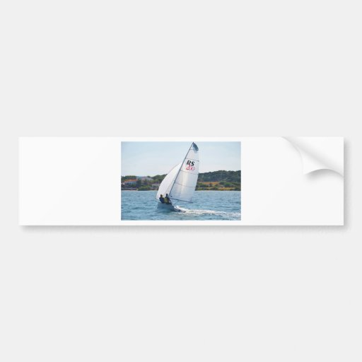 Racing Dinghy At Speed Bumper Sticker