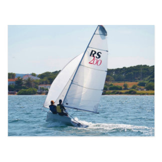 Racing Dinghy At Speed Postcard