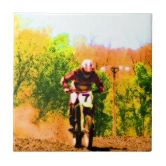 Racing Dirtbike Daredevil Ceramic Tile