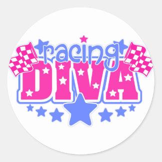 Racing Diva Round Stickers