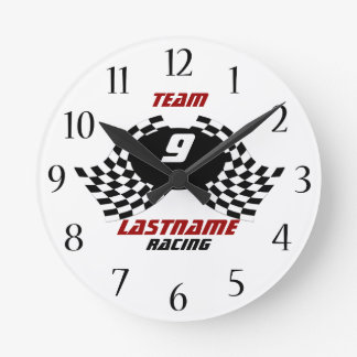 Racing Family Personalizable Round Clock
