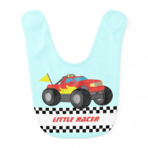 Racing Fiery Red Monster Truck Baby Boy Bib