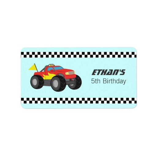 Racing Fiery Red Monster Truck Party Custom Address Label