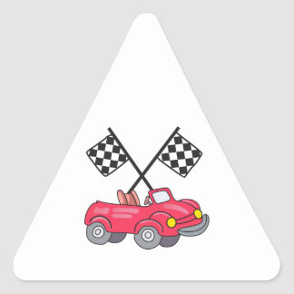 RACING FLAGS AND CAR TRIANGLE STICKER