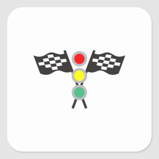 RACING FLAGS AND LIGHTS SQUARE STICKER